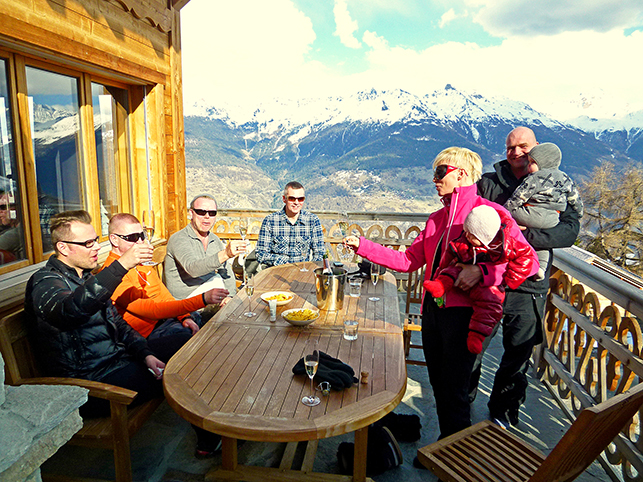 chalet friends on the alpine terrace