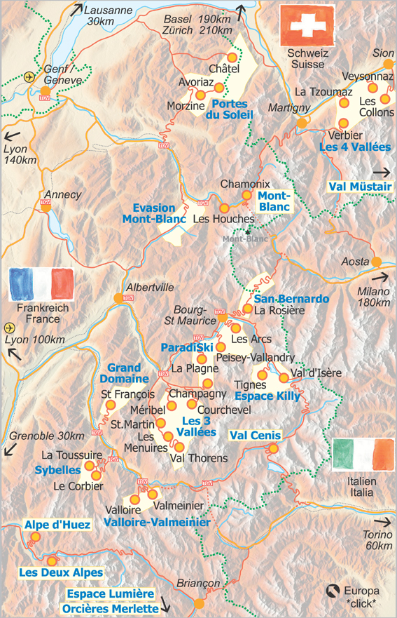 Ski chalets map swiss and french ski areas in the Alps geo search engine